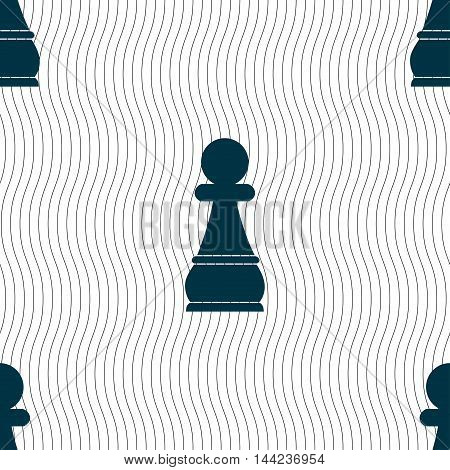 Chess Pawn Sign. Seamless Pattern With Geometric Texture. Vector