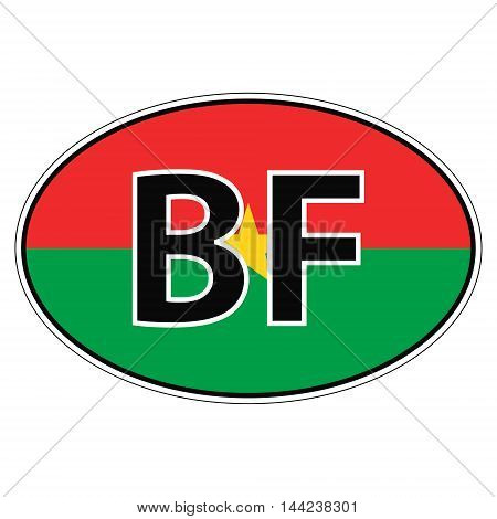Sticker on car, flag Burkina Faso the inscription BF vector for print or website design for language buttons