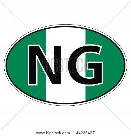 Sticker on car, flag of Federal Republic of Nigeria with the inscription NG vector for print or website design for language buttons