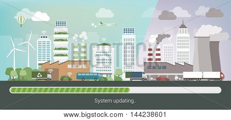 Polluted city changing and upgrading into an innovative clean eco city environmental care and sustainability convept