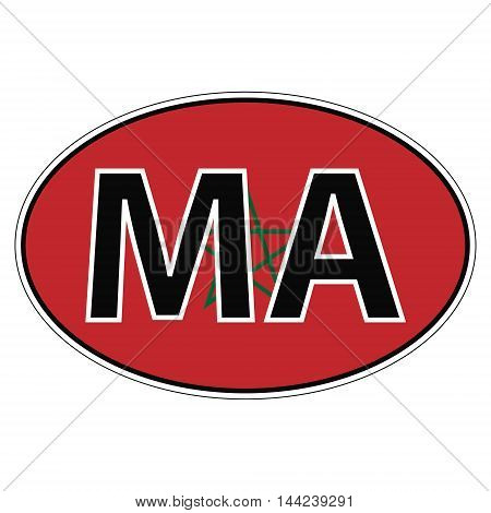 Sticker on car, flag Kingdom Moroccowith the inscription MA vector for print or website design for language buttons