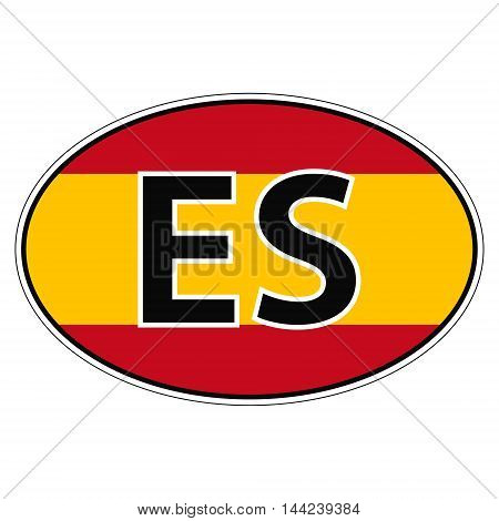 Sticker on car, flag Kingdom Spain with the inscription ES vector for print or website design for language buttons