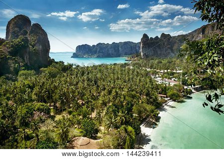 Aerial Panoramic View From Cliff On Railay Beach Krabi Thailand