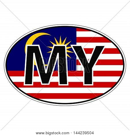 Sticker on car, flag Malaysia with the inscription MY vector for print or website design for language buttons