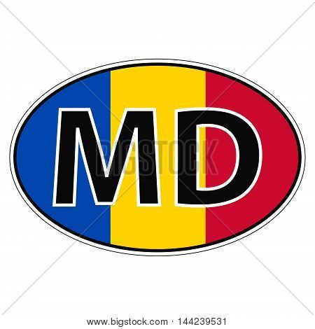 Sticker on car, flag Moldavia, Moldova with the inscription MD vector for print or website design for language buttons