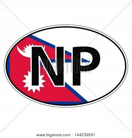 Sticker on car, flag Nepal with the inscription NP vector for print or website design for language buttons