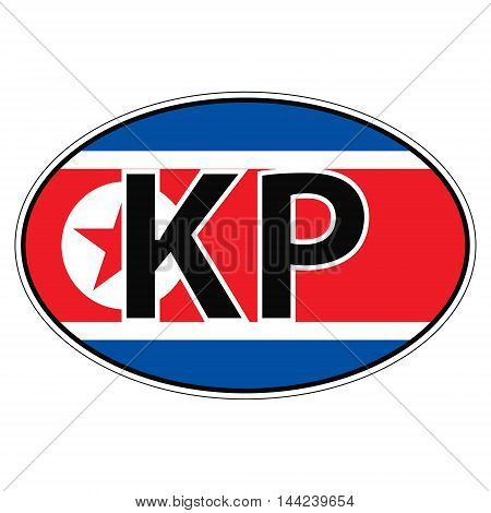 Sticker on car, flag North Korea, Korean Republic with the inscription KP vector for print or website design for language buttons