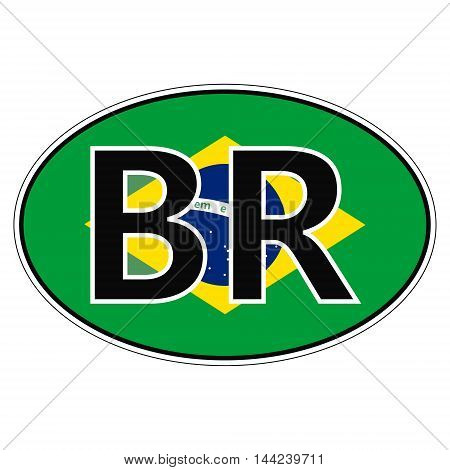 Sticker on car, flag of Federative Republic Of Brazil with the inscription BR vector for print or website design for language buttons