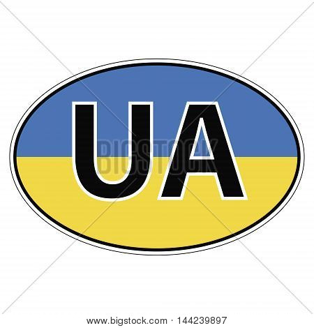 Sticker on car, flag of Ukraine with the inscription UA vector for print or website design for language buttons
