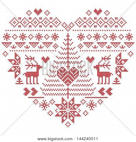 Heart Shape Scandinavian Printed Textile  style and inspired by  Norwegian Christmas and festive winter seamless pattern in cross stitch with Christmas tree, snowflakes, reindeer,  heart and ornament