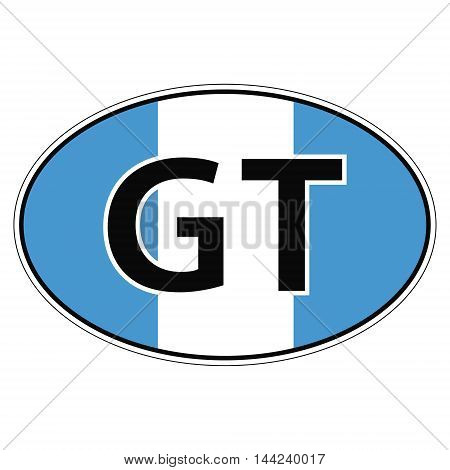 Sticker on car, flag Republic  Guatemala with the inscription gt vector for print or website design for language buttons