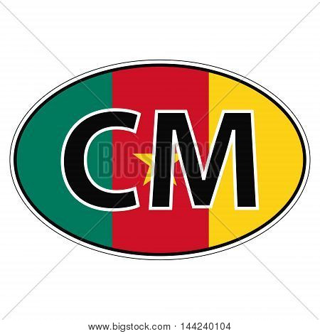 Sticker on car, flag Republic Cameroon with the inscription CM vector for print or website design for language buttons