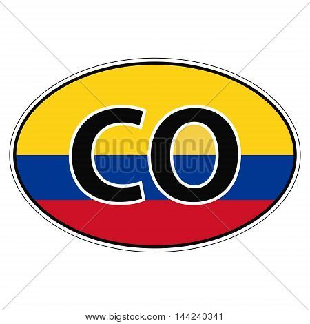 Sticker on car, flag of Republic Colombia with the inscription CO vector for print or website design for language buttons