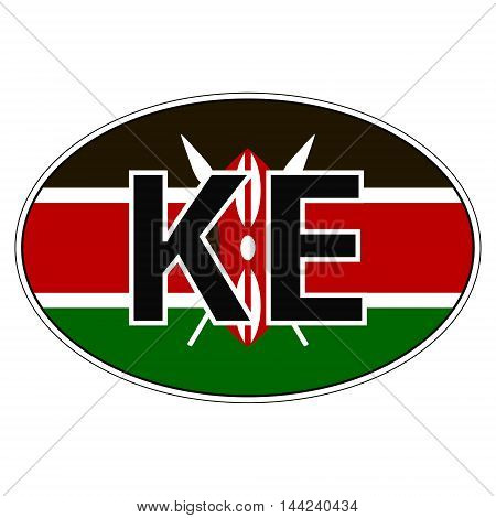 Sticker on car, flag Republic Kenya with the inscription KE vector for print or website design for language buttons