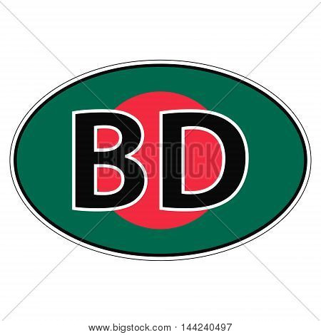 Sticker on car, flag of Republic Of Bangladesh with the inscription BD vector for print or website design for language buttons
