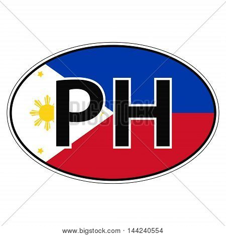 Sticker on car, flag Republic of the Philippines with the inscription PH vector for print or website design for language buttons