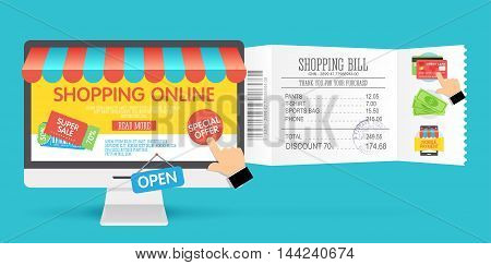 Online shopping concept with computer monitor and icons flat design. Concept of online shop. Vector illustration