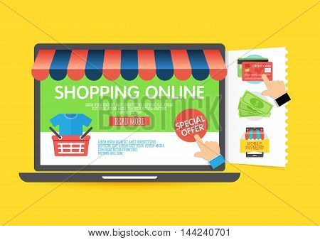 Online shopping concept with laptop and icons flat design. Concept of online shop. Vector illustration