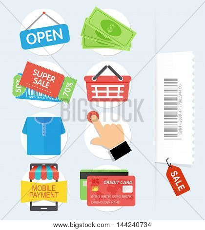 Set of flat shopping icons. Shopping Online Icons. Vector illustration.