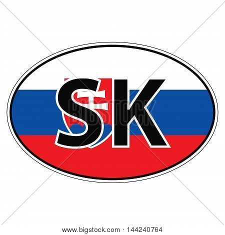 Sticker on car, flag Slovakia the inscription SK vector for print or website design for language buttons