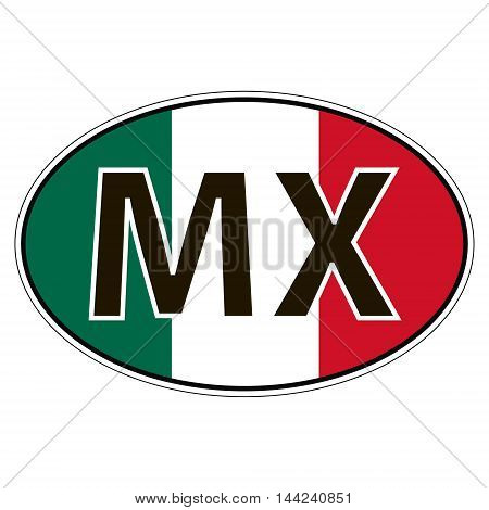Sticker on car, flag of United Mexican States with the inscription MX vector for print or website design for language buttons