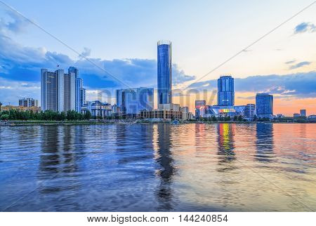 View of quay wharf modern embankment Yekaterinburg