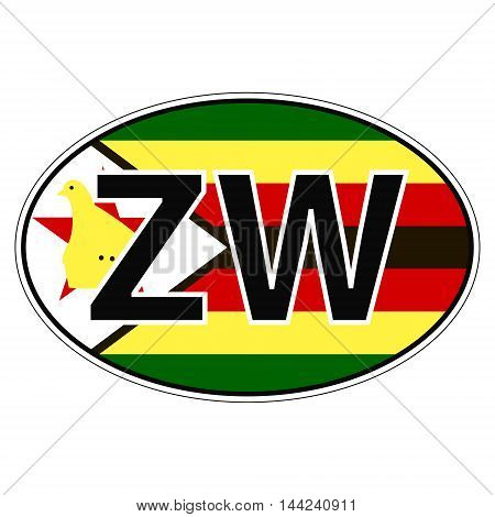 Sticker on car, flag Zimbabwe the inscription ZW vector for print or website design for language buttons