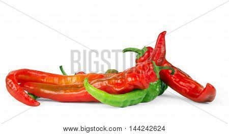 Bright red and bright green chilli pepper on a white background.