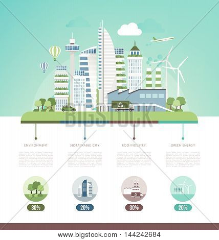 Green sustainable city ecology and environment infographic text and copy space