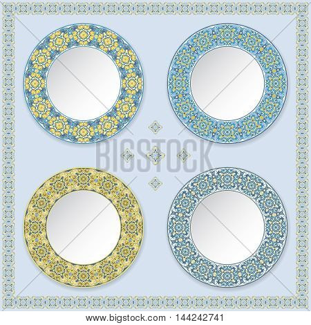 Set of four decorative plates with color pattern. Blue background with ornament on the edge. Vector illustration.