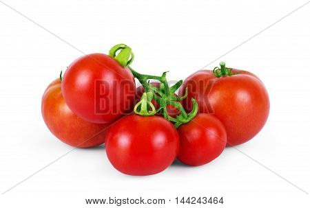 Top view of fresh tomatoes whole and half cut isolated on white background