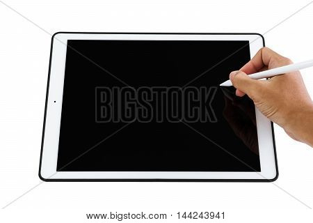 Close-up hand holding digital pen on digital tablet screen, with copy space, isolated on white background