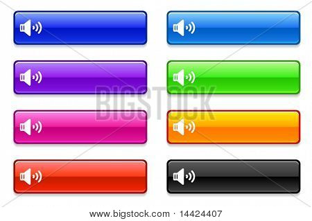 Speaker Icon on Long Button Collection Original Illustration