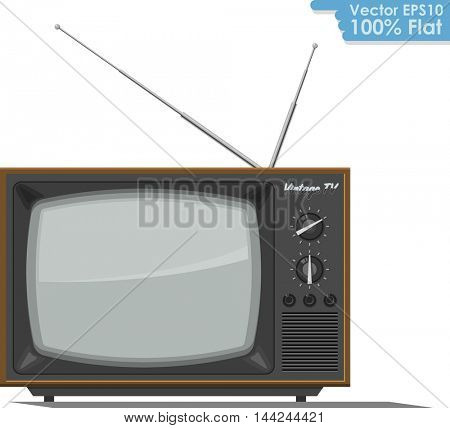 Retro TV set flat design vector illustration. Front view of the vintage TV receiver isolated on white background.