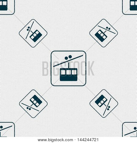 Cable Car Line Sign. Seamless Pattern With Geometric Texture. Vector