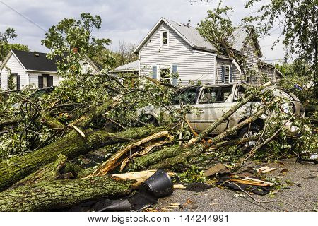 Kokomo - August 24 2016: Several EF3 tornadoes touched down in a residential neighborhood causing millions of dollars in damage. This is the second time in three years this area has been hit by tornadoes 3