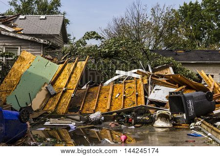 Kokomo - August 24 2016: Several EF3 tornadoes touched down in a residential neighborhood causing millions of dollars in damage. This is the second time in three years this area has been hit by tornadoes 7
