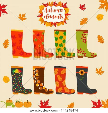 Rain boot, rubber boots. Wellington rain boots set. Autumn elements. Creative rubber boots design template