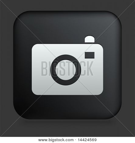 Camera Icon on Square Black Internet Button Original Illustration