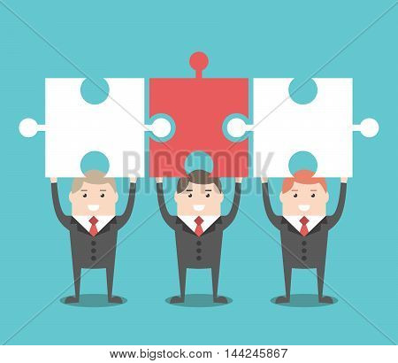 Three Businessmen With Puzzles