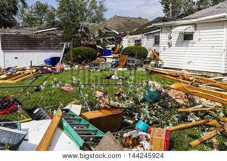 Kokomo - August 24 2016: Several EF3 tornadoes touched down in a residential neighborhood causing millions of dollars in damage. This is the second time in three years this area has been hit by tornadoes 14
