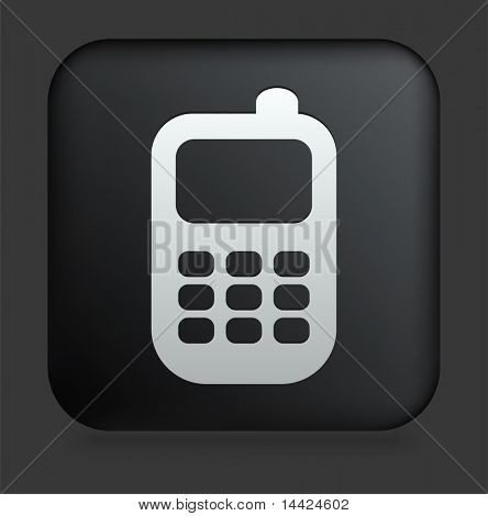 Cell Phone Icon on Square Black Internet Button Original Illustration