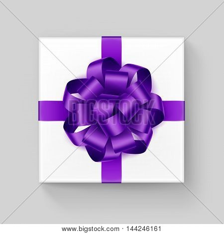 Vector White Square Gift Box with Shiny Purple Violet Ribbon Bow Close up Top view Isolated on Background
