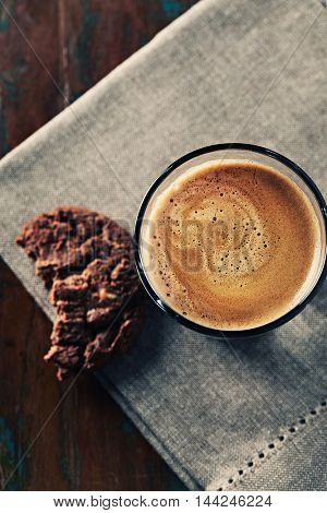 Glass of Espresso with Chocolate Cookie