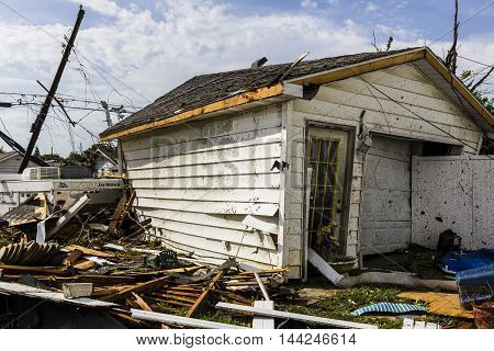Kokomo - August 24 2016: Several EF3 tornadoes touched down in a residential neighborhood causing millions of dollars in damage. This is the second time in three years this area has been hit by tornadoes 21