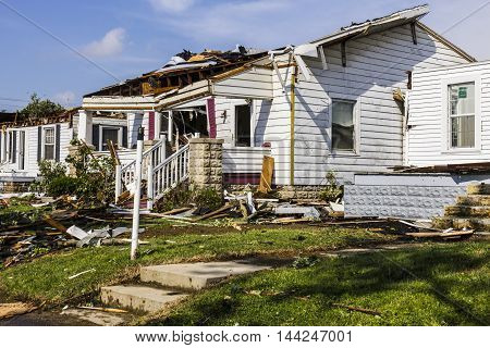 Kokomo - August 24 2016: Several EF3 tornadoes touched down in a residential neighborhood causing millions of dollars in damage. This is the second time in three years this area has been hit by tornadoes 25