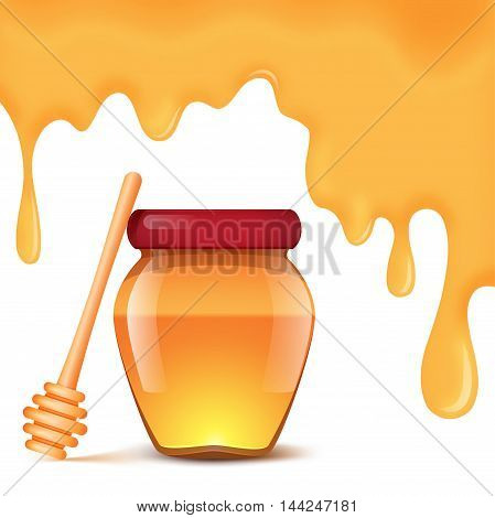 A jar of honey and spoon for honey on a white background. Honey drips background