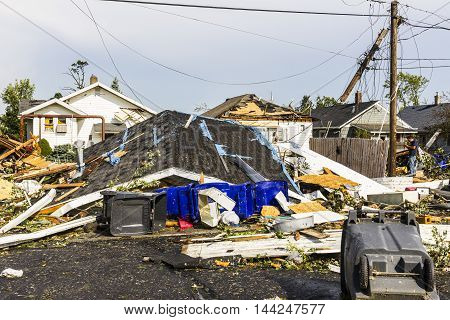 Kokomo - August 24 2016: Several EF3 tornadoes touched down in a residential neighborhood causing millions of dollars in damage. This is the second time in three years this area has been hit by tornadoes 40