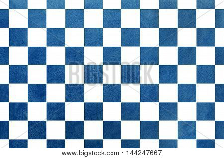 Vintage Watercolor Dark Blue Square Pattern.