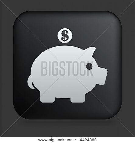 Icono de la hucha en Internet cuadrado negro botón ilustración Original